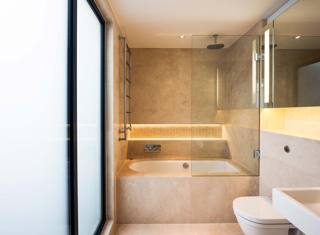 Crema Marfil bath tiles and top