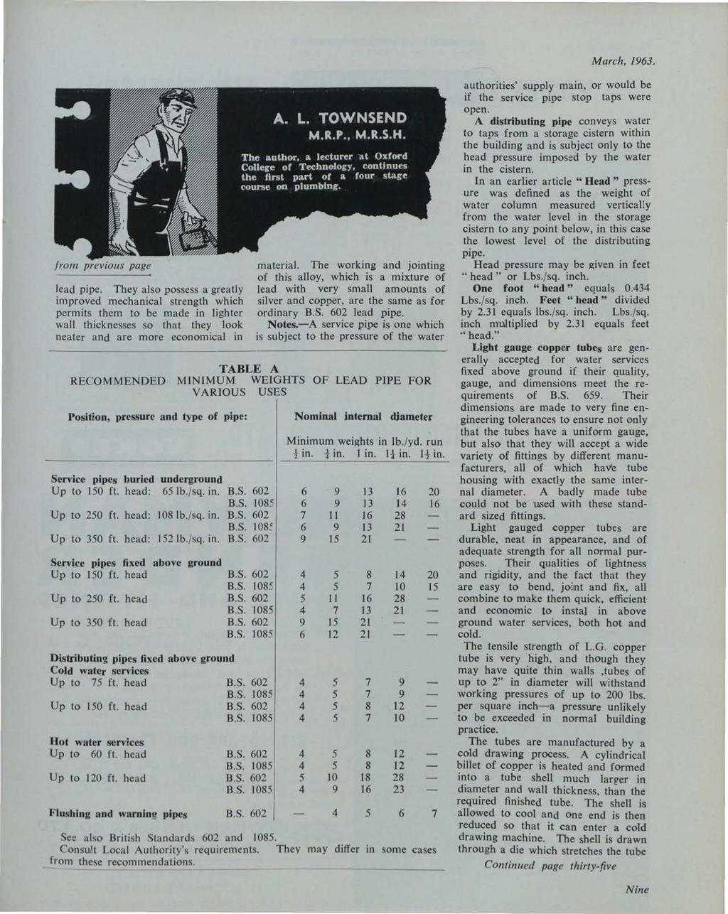 et al.: The Irish Plumber and Heating Contractor, March 1963 (complete is from previous page lead pipe.