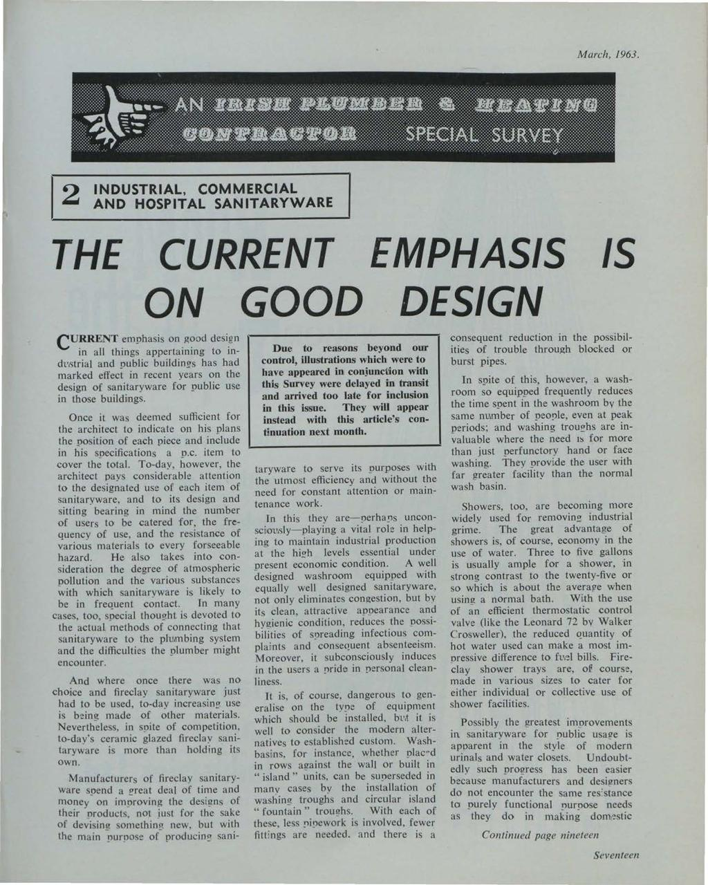 et al.: The Irish Plumber and Heating Contractor, March 1963 (complete is March, 1963.