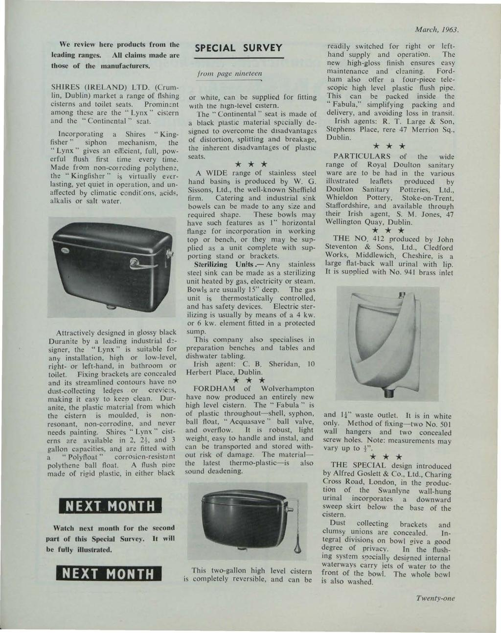 et al.: The Irish Plumber and Heating Contractor, March 1963 (complete is March, 1963. We review here products from the leading ranges. AU claims made arc those of the manufacturers.