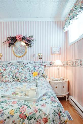 feature The Garden Manor does double duty as a garden shed and a little hangout for Maggi. TOP: There s a retro feel to the blue willow floral décor of the guest bedroom.