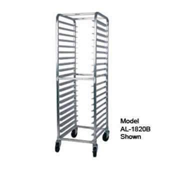 "Win-Holt Equipment Group Model AL-1818B Mobile Pan Rack, full height, open sides, with slides for 14""x18"" or 18""x26"" pans, capacity 18-18"" x 26"" sheet pans, welded angle-type aluminum frame, end"