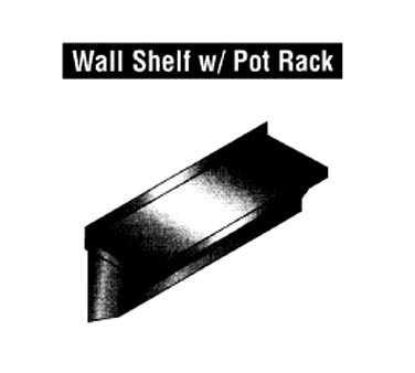 "Universal Stainless Model WSP-1248 Pot Rack, wall-mounted, 48"" long, single bar design with solid overshelf, with stainless steel double hooks, stainless steel"