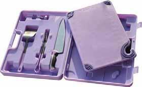 "12""x18""x 1 /2"" Saf-T-Grip Purple Board with embossed warnings alerts staff to 8 common food allergens. 10"" s/s knife with purple handle. 12"" s/s tongs with purple handle."