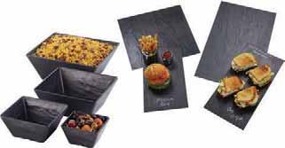 Melamine Faux Slate Bowls & Platters These bowls and platters are manufactured from nearly indestructible melamine for long-lasting reliability in everyday performance.