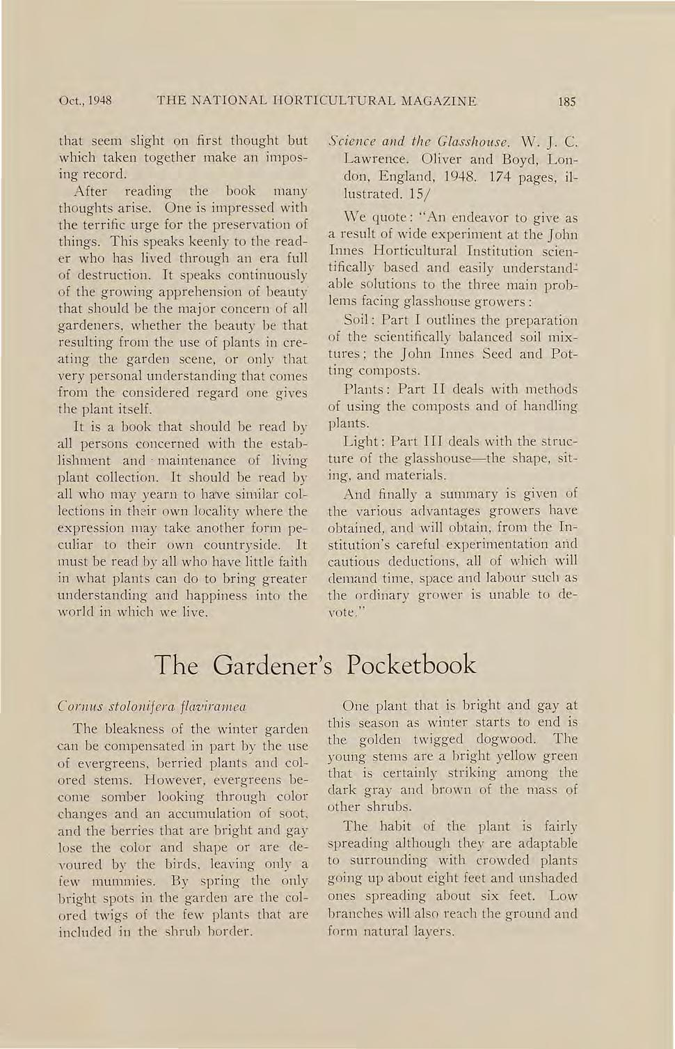 Oct., 1948 THE NATIONAL HORTICULTURAL MAGAZINE 185 that seem slight on first thought but which taken together make an Imposing record. After reading the book many thoughts arise.
