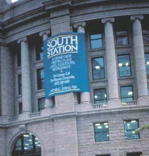 Boston South Station s façade during renovation.