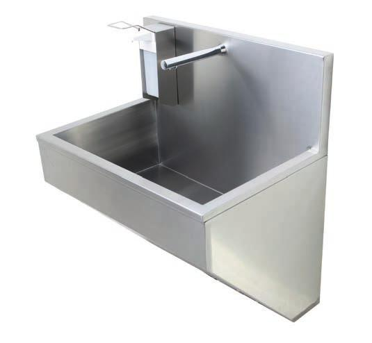 Abaco - European style scrub sink Abaco is a European style scrub sink with fully concealed trap and services inside a shroud with an access panel to the front.