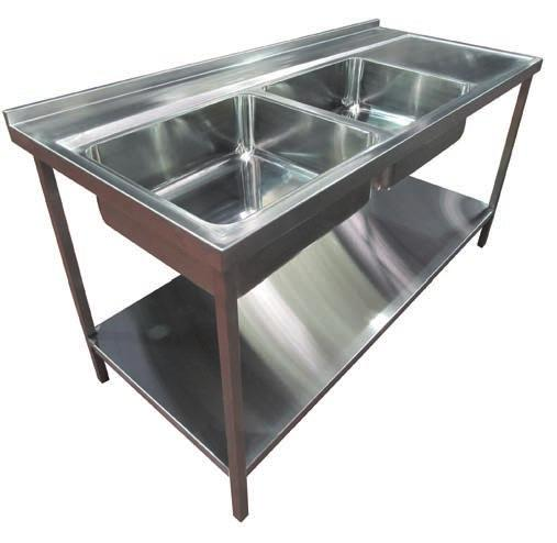 Mauritius - Twin trough endoscopy sink Pland HTM64 special endoscopy cleaning sinks manufactured from 1.5mm 316 (1.4401) specification stainless steel.