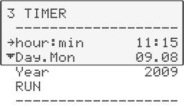 Level 2 Submenu TIMER Parameter /Value or Set desired parameters with and. Confirm >now< with the key and the program will start immediately or start at the set time under parameter (time ).