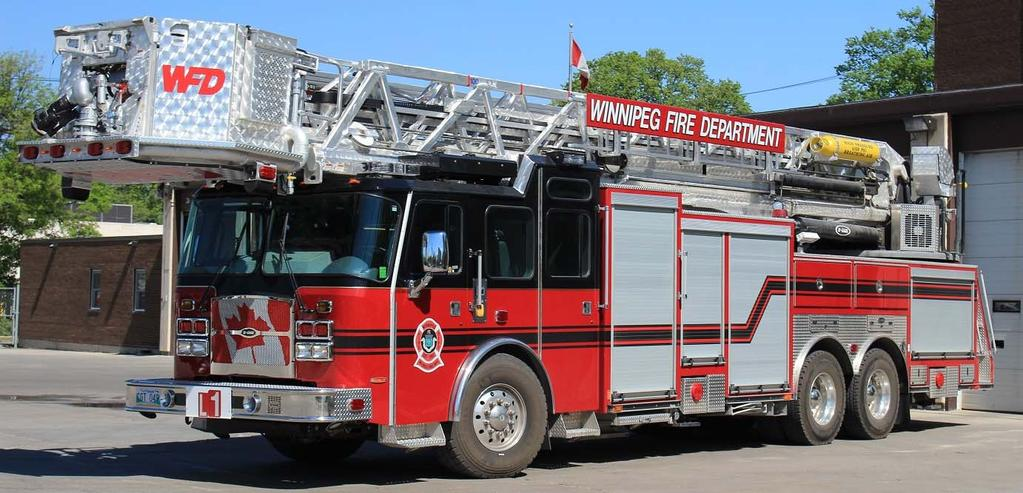 Winnipeg, MB Ladder 1 is a 2016 E-One Cyclone II HP100 tower, featuring a