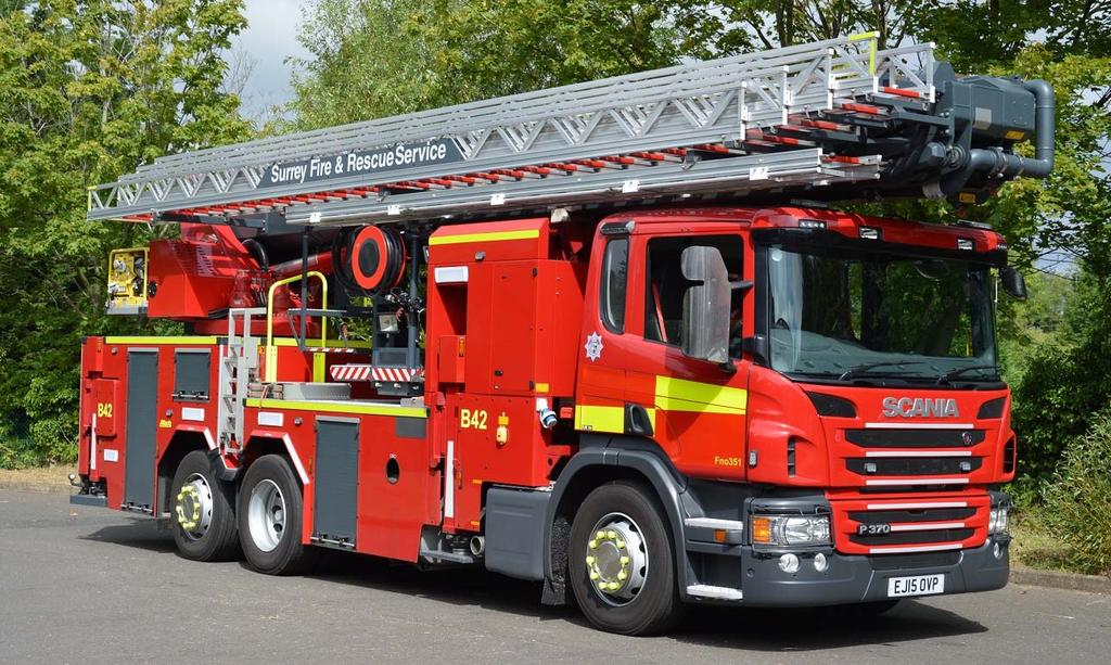 Surrey s 2015 Scania P370/Metz B42 136 Aerial Ladder Platform at Leatherhead Fire Station.