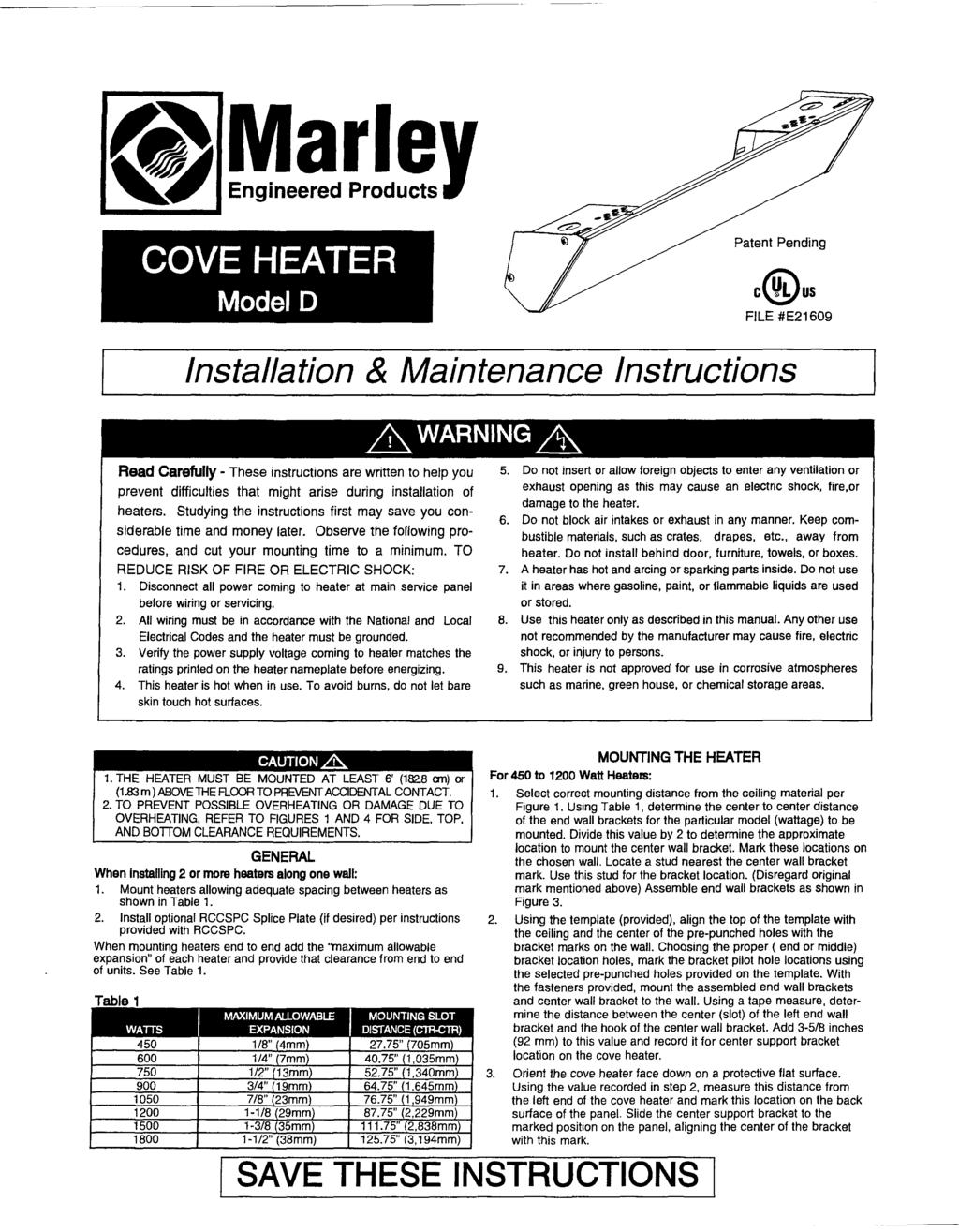 Tab 8 Cove Heaters Harris Air In This Section Syste1v1s Inc Marley Electric Heater Wiring Diagram Model D Patent Pending Cus File E21609 Installation Maintenance Instructions