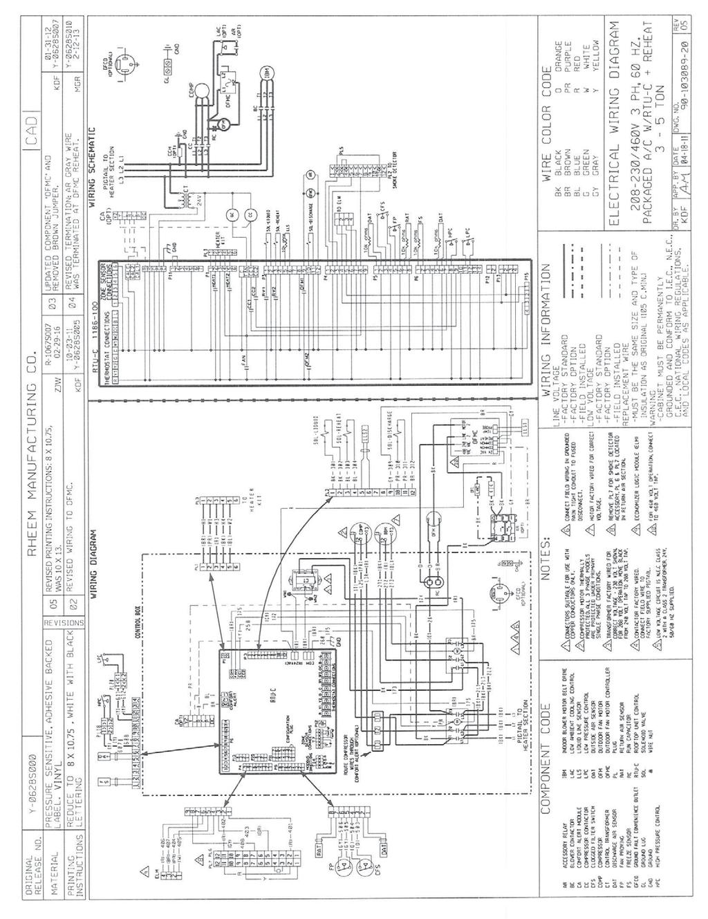 Rheem Commercial Classic Series Package Air Conditioner Pdf Aaon Rq Wiring Diagrams 62