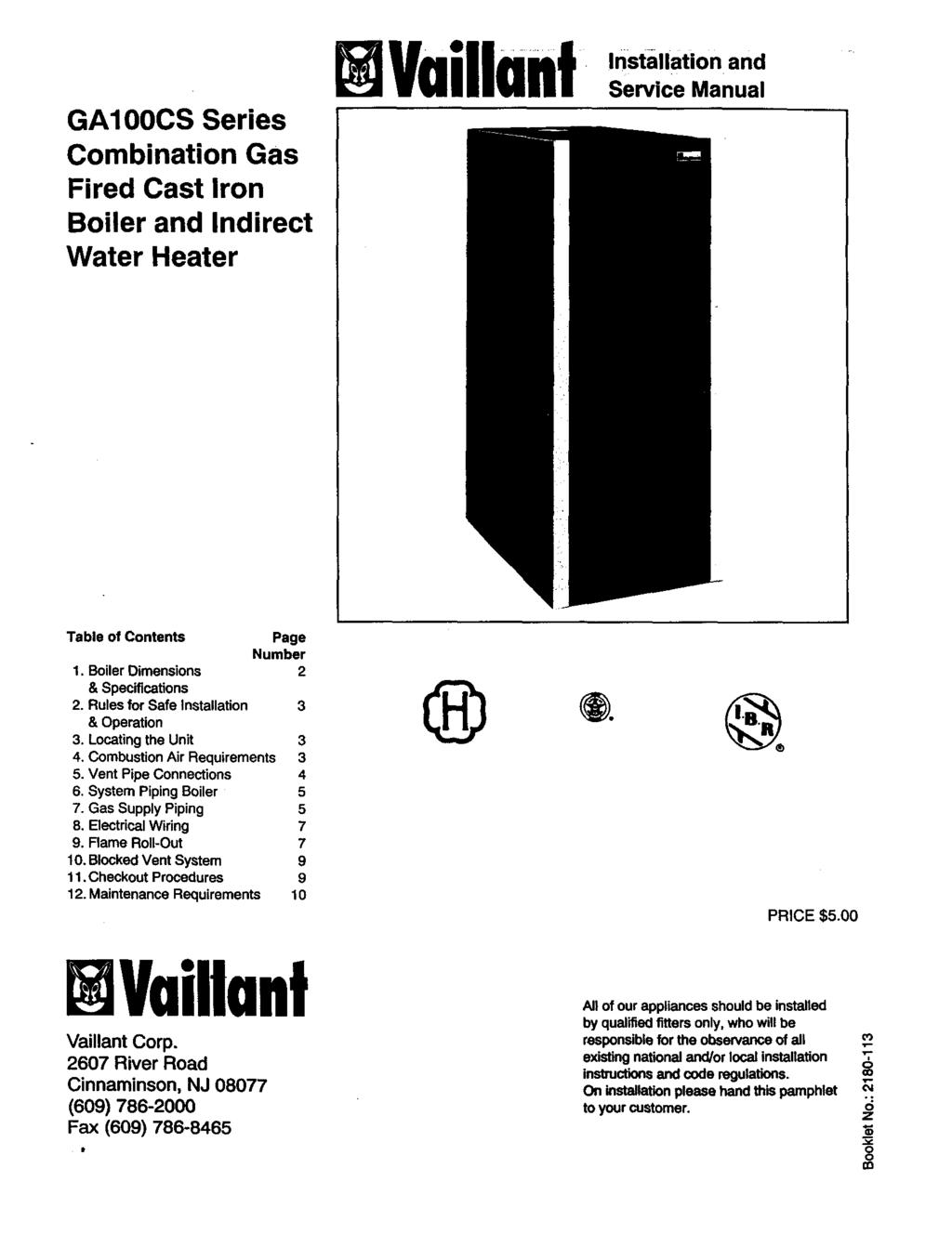Vaillant Combination Gas Fired Cast Iron Boiler And Heater Wiring Diagram System Installation Service Manual Ga100cs Series