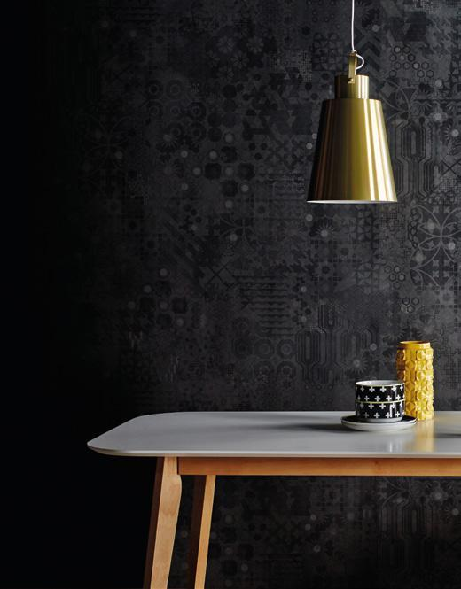 LAMINATE TRIANA CARIÑO DXO 1357S WHEN TIME STOOD STILL Copenhagen gold pendant light; Amelia white dining table; yellow vase; Aura cross-patterned stacking bowls and side plates; double dip stacking