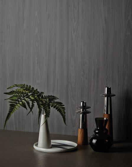 LAMINATE ON WALL VALDA TIVOLI ELM WY 1271D LAMINATE ON TABLE COCOA FUSTIAN DXO 1340L House Doctor grey vase, from Journey East.