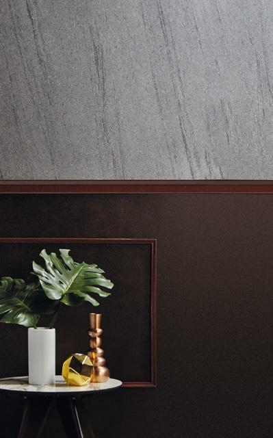 LAMINATE ON WALL FABIO ERCOLANO DXP 1362K LAMINATE ON PANEL GODIVA LUXE DXO 5319B HOTEL HIDEAWAY 33 Balance the cold, neutral colour of stone, with a warm hue, such as deep brown.