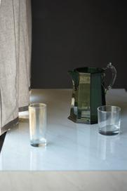 LAMINATE LINA FLORENTINA MARBLE DXP 4318G S&P bud vase, and Ottaviana green pitcher, both from