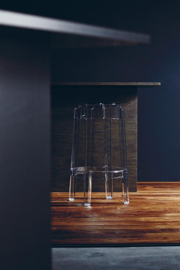 LAMINATE ON KITCHEN ISLAND MYSTIQ ARAGON DXO 4315X Kartell Charles Ghost clear acrylic bar stool, from The