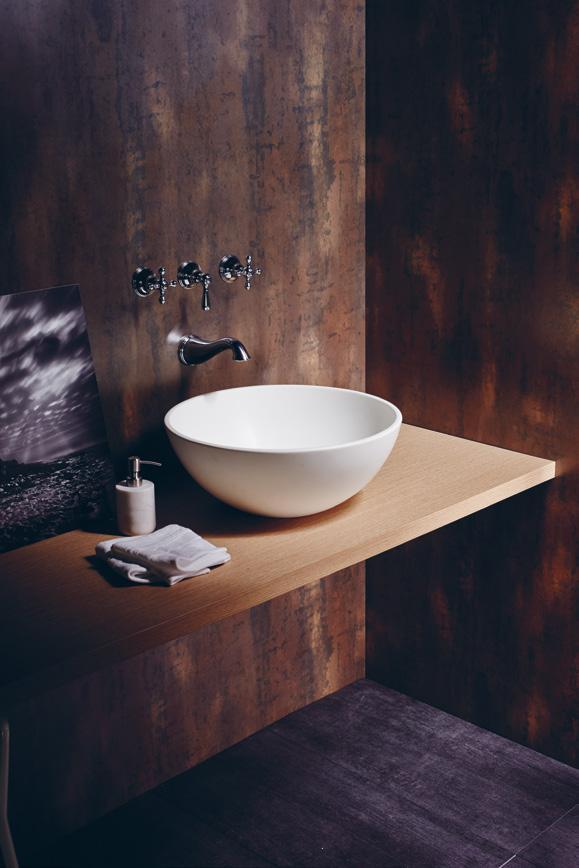 LAMINATE ON WALL BRYSON TOBIAS STEEL DXN 4329M LAMINATE ON TABLE GEMMA OAK GIOVANNI WYA 5272E Curio cross handle mixing valve for bath and shower witn diverter; bath spout, and counter basin with