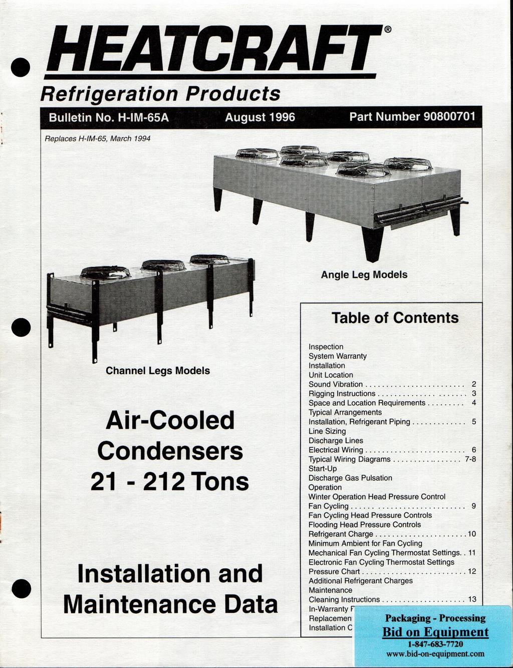 HEATCRAFT. Air-Cooled Condensers Tons. Installation and Maintenance ...