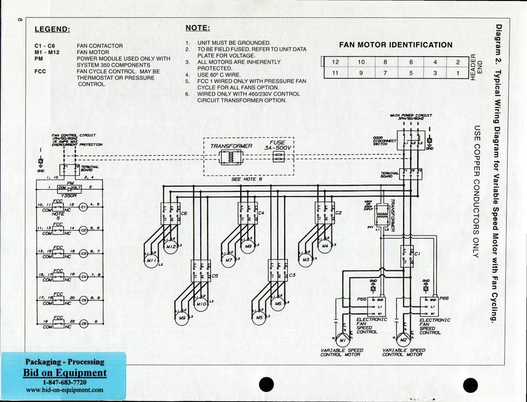 Heatcraft Air Cooled Condensers Tons Installation And Maintenance Circuit Schematic Diagram Of Fan Speed Control Co Legend C1 C6 M1 M12 Pm Fcc Contactor Motor Power