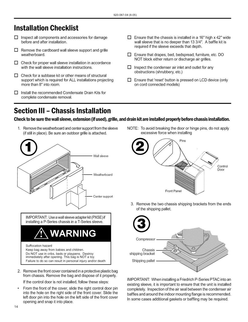 Ptac Installation Operation Guide Packaged Terminal Air White Rodgers Thermostat Wiring 1f82 51 Checklist Inspect All Components And Accessories For Damage Before After