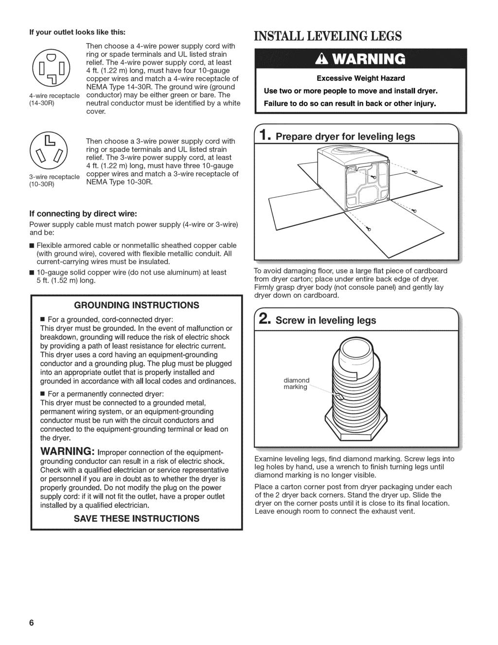 Electric Dryer Installation Instructions Pdf Schematic Wiring Diagram Fuse Screw If Your Outlet Looks Like This 4 Wire Receptacle 14 30r