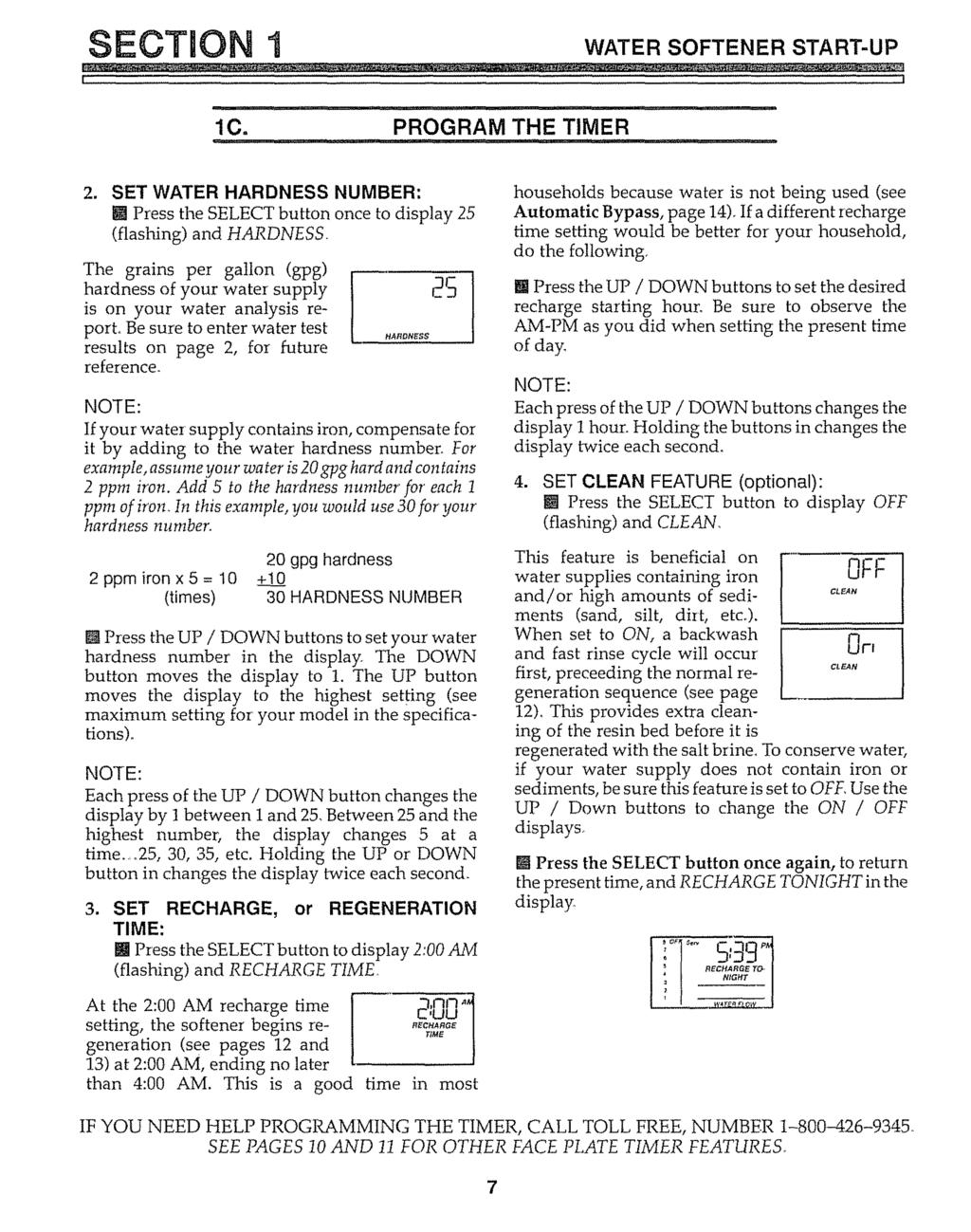 Owners Manual Demand Water Softeners Model Nos Warranty Sears Ceiling Fan Wiring Diagram Roebuck Section I Softener Start Up Lc Program The Timer J