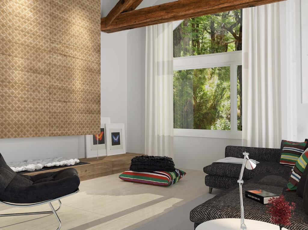 GIARDINO Porcelain tile for wall Porcelanato para pared Oak s traits in the warmth of any ambient.