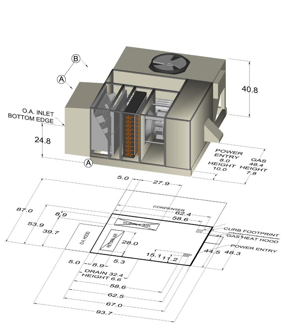 Catalog Rebel Commercial Packaged Rooftop Systems Pdf York Dcg Wiring Diagrams Hvac Gas Dimensional Data Figure 27 Dps 003 006 Economizer No Energy Recovery Detail