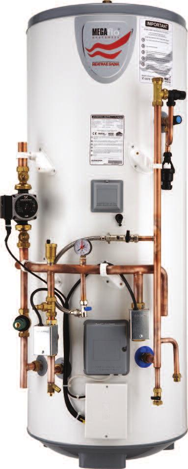 14 Megaflo HE SystemFit features Diagram Dimensions Specification Installation Guarantee Ordering guide 15 Megaflo HE SystemFit PRE-PLUMBED UNVENTED WATER HEATING Seperate Central Heating and Hot