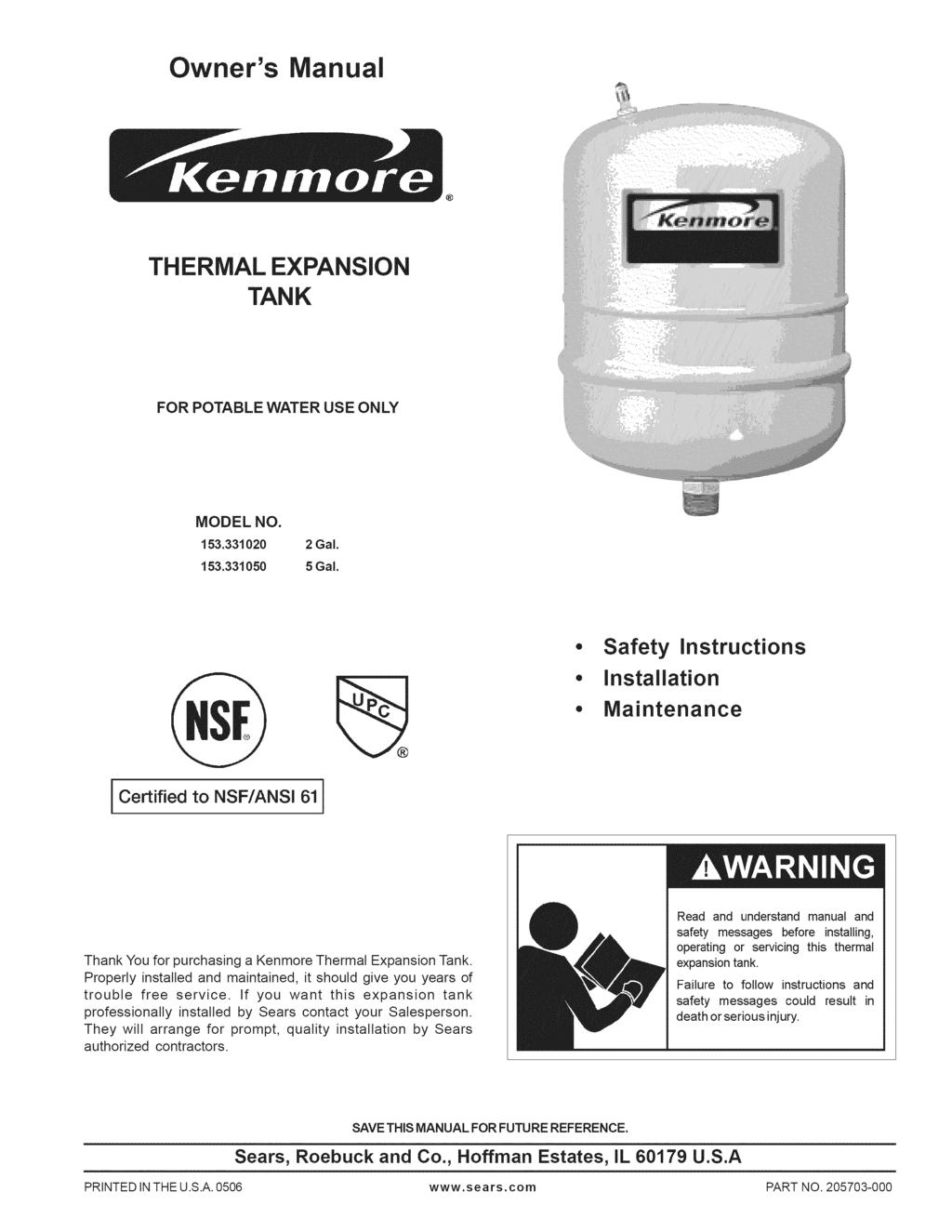 Thermal Expansion Tank Pdf Argo Wiring Diagram 3p Arm Owners Manual For Potable Water Use Only Model No 153331020 2 Gal