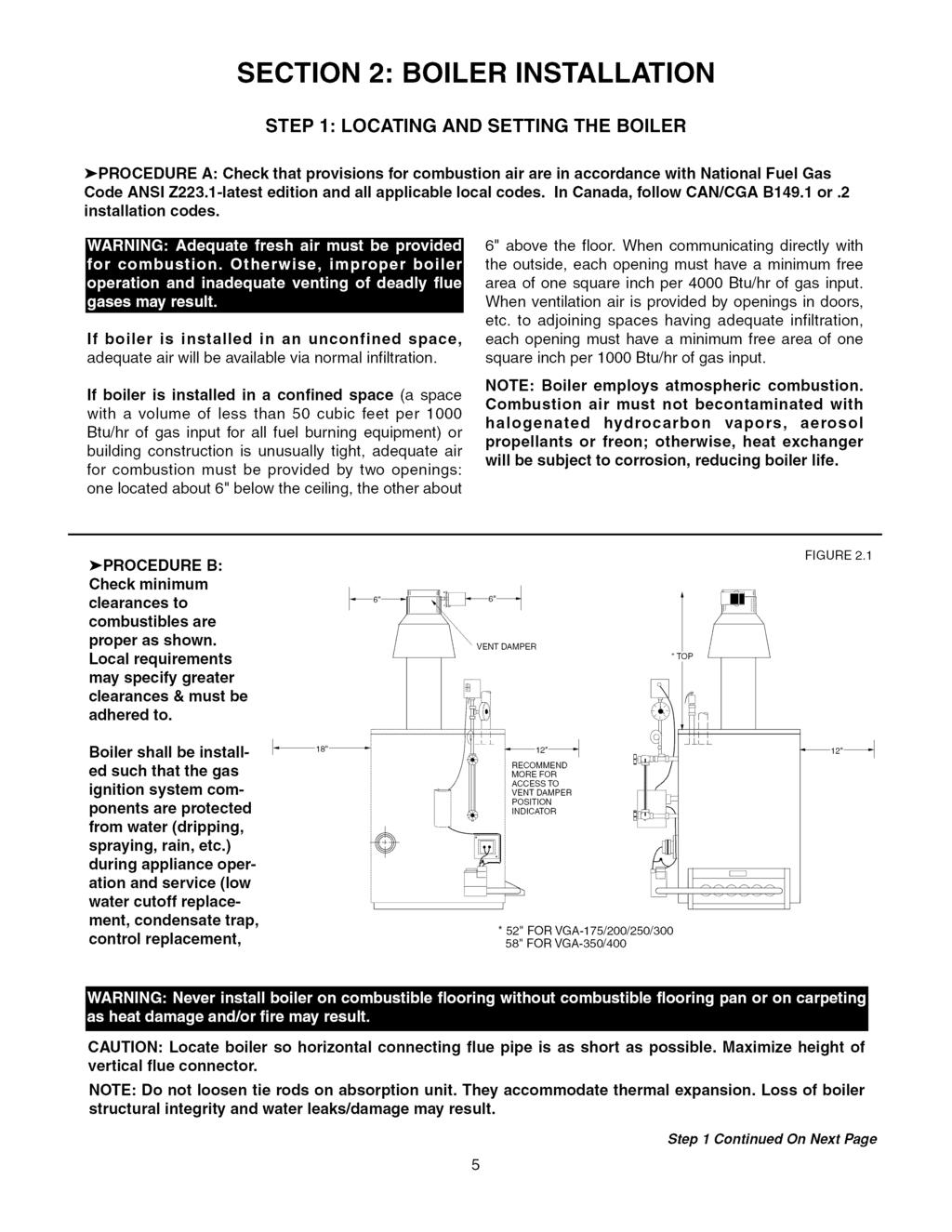 Hydrotherm Vgab Series Installation Operation Maintenance Manual Parker Boiler Wiring Diagram Section Step Locating And Setting The Procedure A Check That