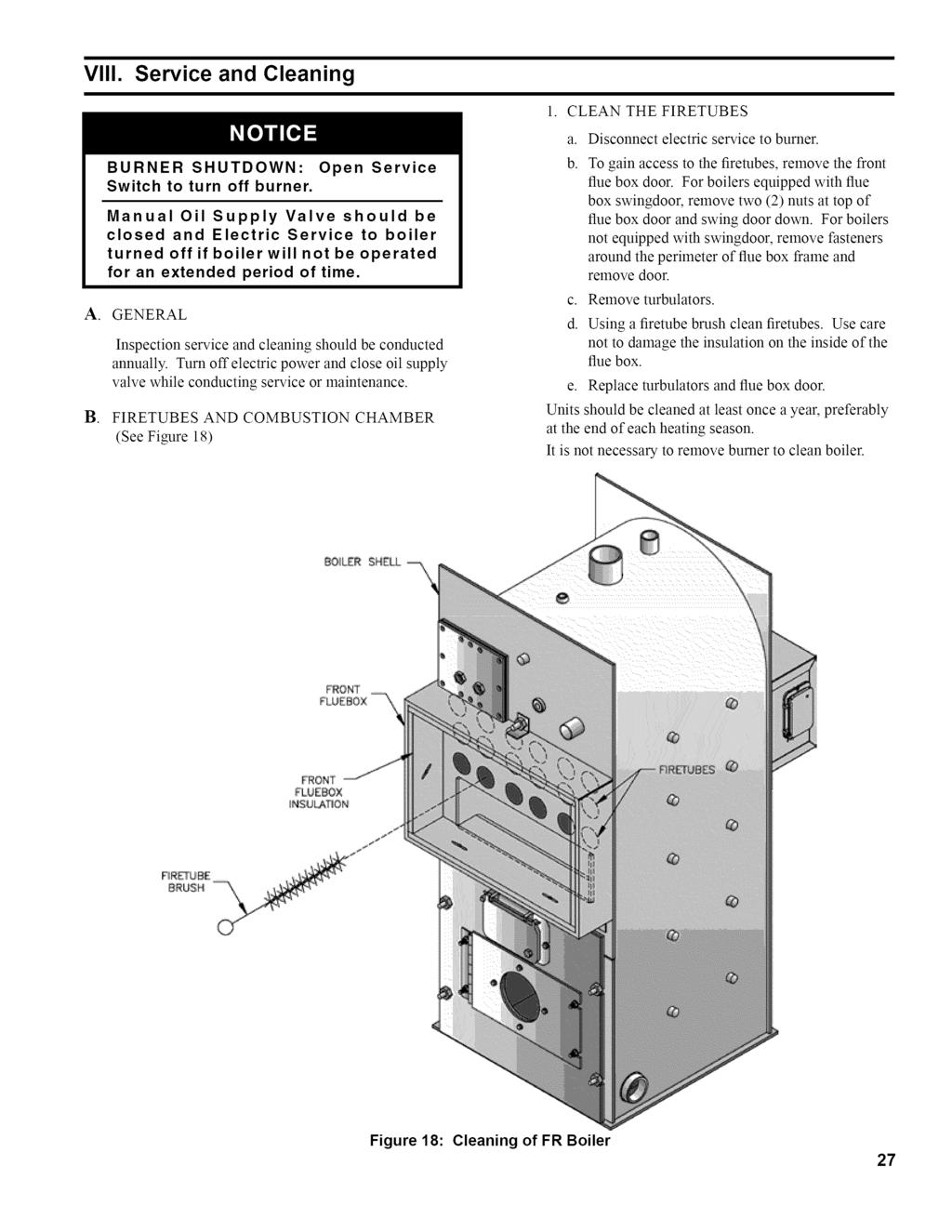 Installation Operating And Service Instructions Fr Rmseries Honeywell L7224 Wiring Diagram Viii Cleaning A B Burner Shutdown Switch To Turn Off