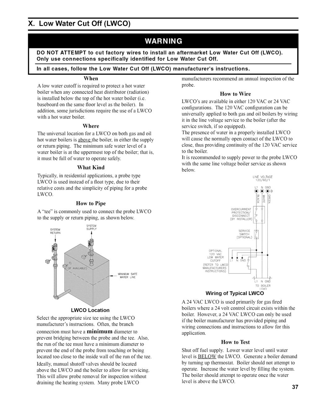 Installation Operating And Service Instructions Fr Rmseries Honeywell L7224 Wiring Diagram X Low Water Cut Off Lwco Do Not Attempt To Factory Wires