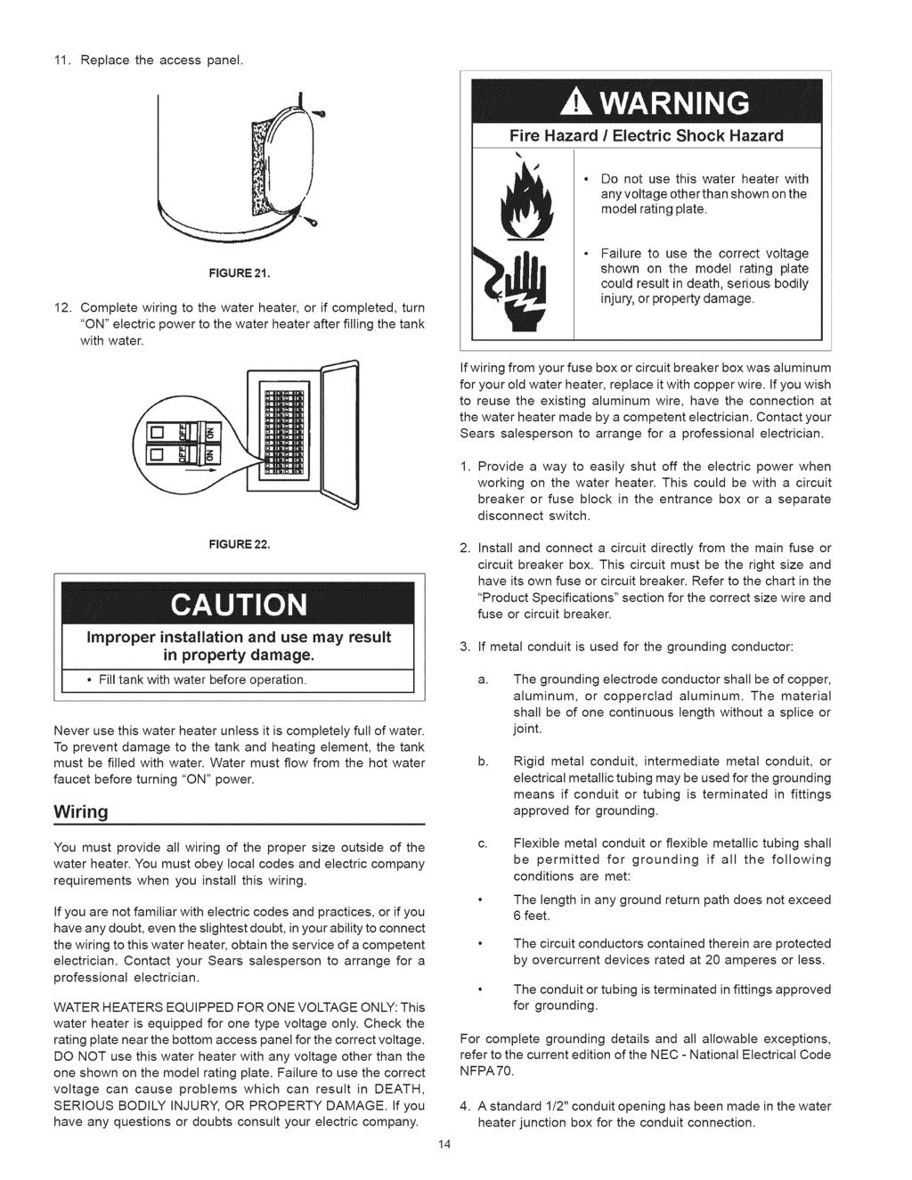 Power Misertm Electric Water Heater Pdf Fuse Box Fire Replace The Access Panel Hazard Shock Do Not Use