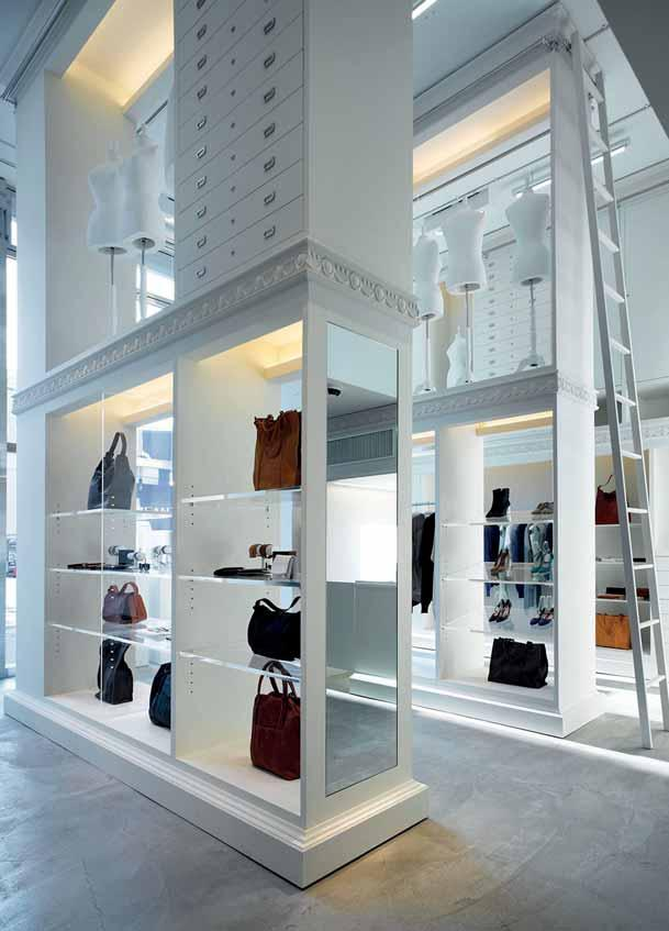 In-store Visual Merchandising 135 The Maison Martin Margiela store in Nagoya, Japan, makes great use of its high ceilings.