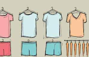 layout for men s T-shirts and shorts.