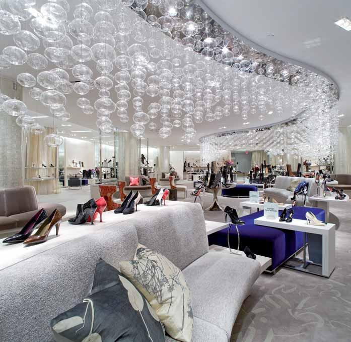 The famous ladies shoe department at Saks Fifth Avenue, New York, has been designed using subtle, neutral colours and