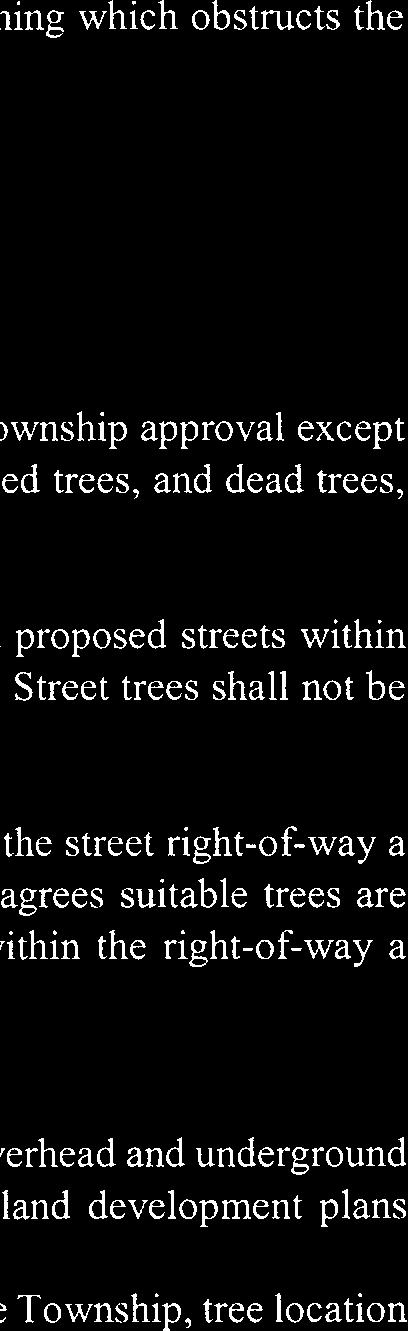 from the point of intersection. Nothing which obstructs the vision of a motorist shall be permitted in this area. ARTICLE XI Section 140-37, Landscaping and street trees, subsection B.