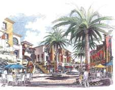 The proposed Fruitvale Transit Village features a traditional mercado, or market plaza, and new retail, restaurants, and housing, all easily accessible to transit.